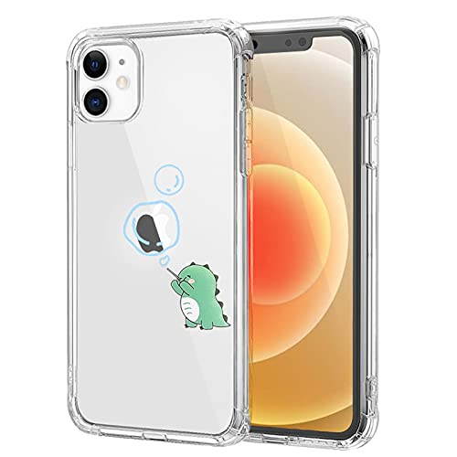 NITITOP Compatible with iPhone 12 Case Clear Cute with Dinosaur Cartoon Pretty Design Dino Creative Pattern for Girl Women Boys Soft TPU Shockproof Slim Funny Case for iPhone 12 - Bubble