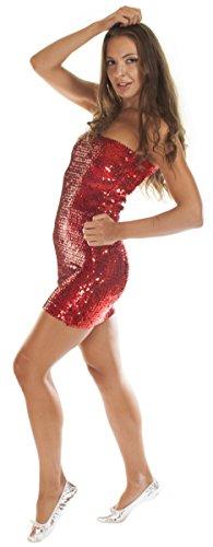 The Turkish Emporium Disco Party Abito, Glitter Paillettes, Taglia M/L, Rosso