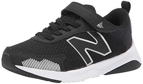 New Balance Boy's DynaSoft 545 V1 Hook and Loop Running Shoe, Black/White/Silver Metallic, 2.5 Wide Little Kid