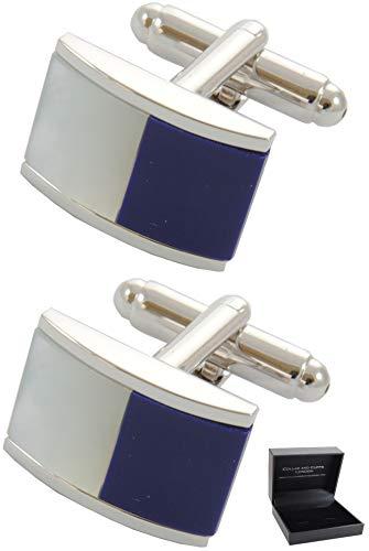 COLLAR AND CUFFS LONDON - Boutons de Manchette avec Boite-Cadeau - Grand Qualité - Demi Barrique - avec Nacre - Design Classique - Laiton - Couleur Bl