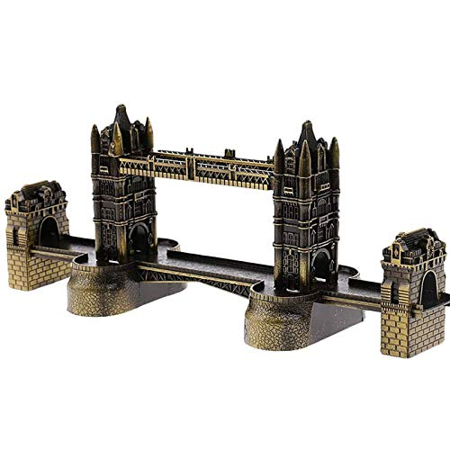 YiGanQiang London Tower Bridge Statue Figure Retro Metal Building Modelo London Bridge Figura Decorativo de Hierro Decoración (Color : Brass)