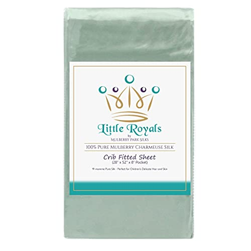 Mulberry Park Fitted Silk Crib Sheet - Goodnight Green - Grade 6A Pure 19 Momme Toddler Bedding - Gentle on Baby's Dry Skin, Helps with Bald Spot, Eczema, & Cradle Cap - Oeko-TEX Certified