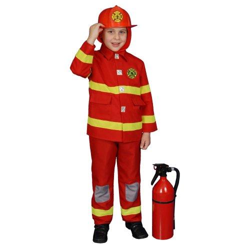 Dress Up America Costume de pompier garçon, Rouge et Jaune, 8-10 ans (Taille 30-32 Pouces, Hauteur 45-50 Pouces)