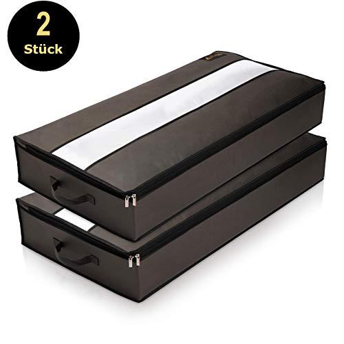 LACASO 2er Set Unterbettkommode 100x50x15cm - 75L luftdurchlässige, wasserdichte Unterbett Aufbewahrungstasche - Aufbewahrung für Bettdecken, Kissen, Plüschtiere - Kleideraufbewahrung grau