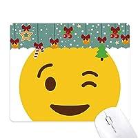 まばたき笑顔絵文字イラストパターン ゲーム用スライドゴムのマウスパッドクリスマス