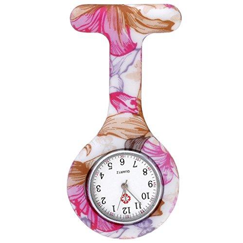 JSDDE Uhren Schwesternuhren Krankenschwesteruhr FOB-Uhr Silikon Hülle Pulsuhr Pflegeuhr Tunika Brosche Taschenuhr Ansteckuhr Analog Quarzuhr (Roserot Blume)