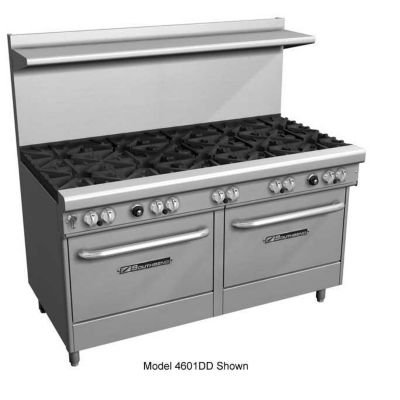 "Southbend 4601DD-3CR 60"" Ultimate Restaurant Gas Range w/ 4 Standard Burners, 36"" Right Charbroiler & (2) Standard Ovens"