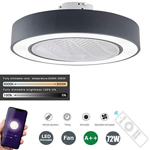 SFOXI Deckenventilator mit Beleuchtung App Steuerung Einstellbare Windgeschwindigkeit Dimmbar mit Fernbedienung Moderne LED-Deckenleuchte für Schlafzimmer Wohnzimmer Esszimmer Ø55CM 72W,Schwarz