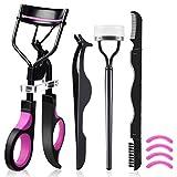 Eyelash Curler, HOCOSY 4 in 1 Eyelash Curlers Kit for Women includes Lash Curler, Eyelash Brush, Eyelash Extension Tweezers, Eyebrow Brush and Comb, Silicone Refill Pads for Natural Eyelashes