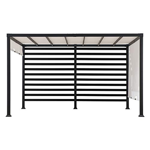 Maverick 10x12 ft. Modern Steel Pergola with White Adjustable Shade - Sunjoy A106006400