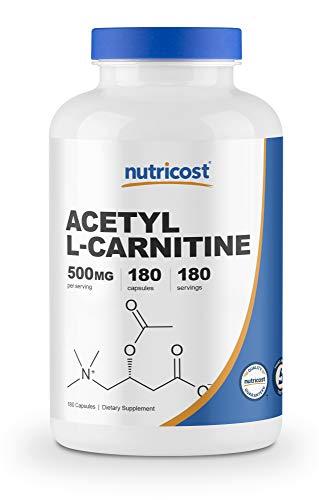 Nutricost Acetyl L Carnitine 500mg 180 Capsules Non GMO and Gluten Free