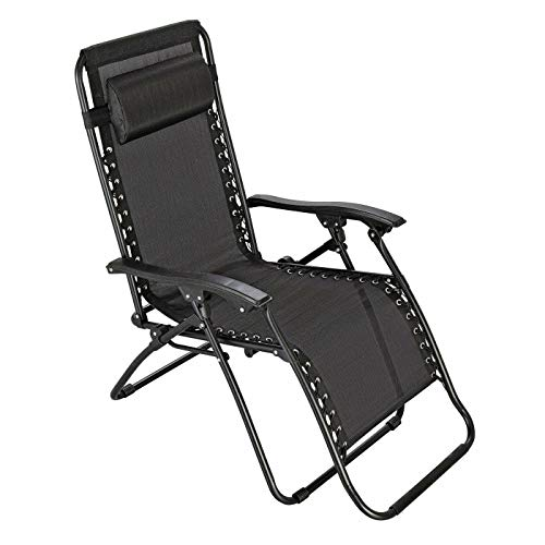 Zero Gravity Metal Sun Lounger - Black: Premium Heavy Duty 2020 Model (Reclining Outdoor Garden Deck, Beach Chair)