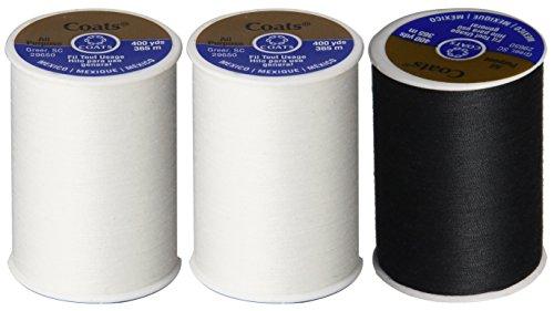 3-Pack -2 WHITE & 1 BLACK - Coats & Clark Dual Duty All-Purpose Thread - 2 White plus 1 Black Spools, 400 Yard Spool each.