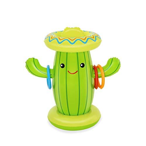 Bestway Aspersor Inflable con Forma de Cactus, diversión en el Agua, Lanzamiento de Anillos, Juegos de Verano al Aire Libre (BW52381)