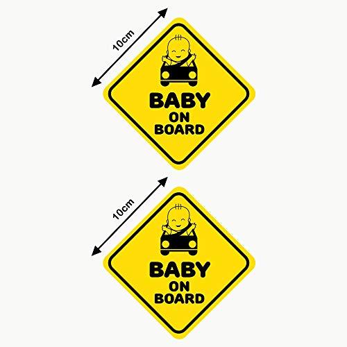 Autodomy Pegatinas Baby On Board Bebé a Bordo Baby in Car Pack 2 Unidades para Coche (Uso Interno)