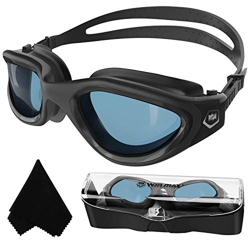 Gafas de natación polarizadas anti niebla anti UV sin fugas visión clara para hombres, mujeres, adultos, adolescentes (todos negro/polarizado lente oscura)