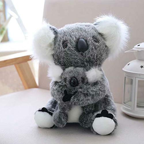 Cute rabbit 11 inch Mum and Baby Koala Plush Toy Stuffed Animal Toy Plush Animal Doll (Black)
