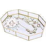 Pahdecor Gold Tray Small,Mirror Decorative Tray Vanity Metal,Vintage Makeup Tray Organizer for Perfume,Jewelry,Dresser,Bathroom (Small)