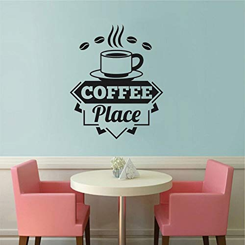 YuanMinglu Kaffeetasse in-situ Kaffee Text Wandaufkleber Vinyl Aufkleber Cafe Cafe Wandkunst Dekoration 91x115cm