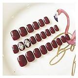 Wuxun-Nail Diseño Simple Vino Rojo Nail Fake Tamaño Mediano Cabeza Cuadrada Cubierta Completa Cubierta de uñas Tips de Arte con diseño de Pegamento 24pcs / Set