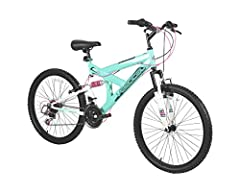 Dual suspension mountain bike 18 speed Shimano derailleur with Shimano grip shifters Front and rear V-brakes Adjustable seat post