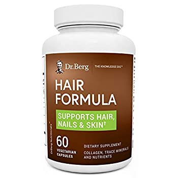 Dr Berg's Hair Formula Supplement - Healthy Nails & Skin Support - Hair Vitamins w/ DHT Blocker Biotin Collagen Type I & III Trace Minerals Whole Food Vitamin C and Bs - 60 Vegetarian Capsules