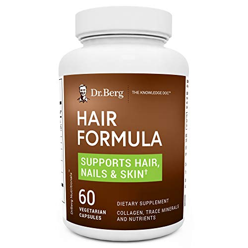 Dr. Berg's Hair Formula Supplement - Healthy Nails & Skin Support - Hair Vitamins w/ DHT Blocker, Biotin, Collagen Type I & III, Trace Minerals, Whole Food Vitamin C and Bs - 60 Vegetarian Capsules