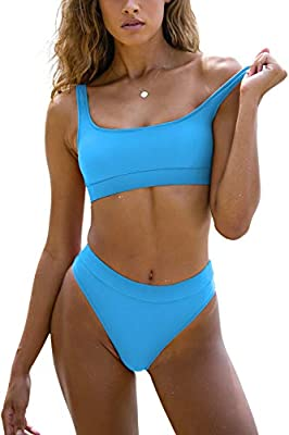 Sports Swimsuits for Women Two Piece Crop Top Bikini Set High Waisted High Cut Bathing Suits