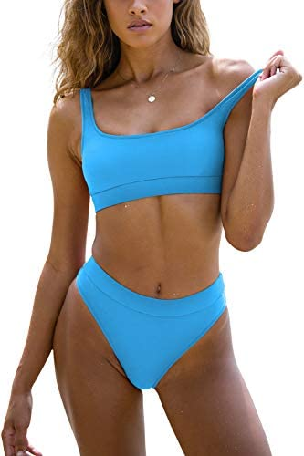 Sports Swimsuits for Women Two Piece Crop Top Bikini Set High Waisted High Cut Bathing Suits product image