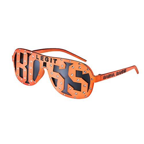 WWE Sasha Banks Legit Boss Sonnenbrille mit Nieten, Orange, Herren, schwarz, Einheitsgröße