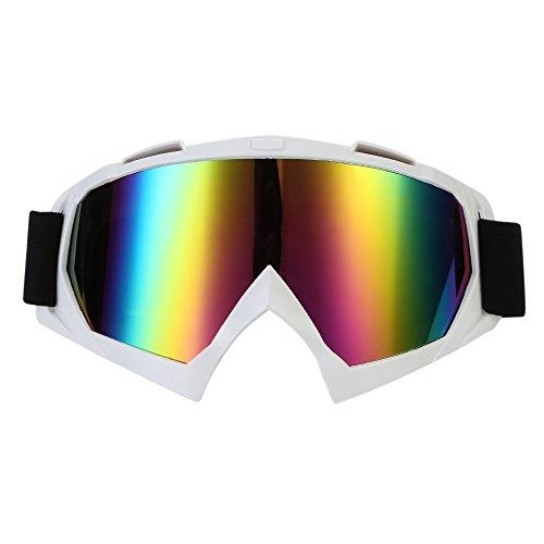 TKOOFN motorbril veiligheidsbril masker wind stofbescherming met transparant/gekleurde lens PC + TPU-materiaal Gekleurde lens + wit frame.