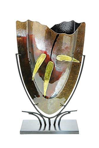 GILDE GLAS art Design-Vase - Dekoobjekt handgefertigt aus Glas H 57 cm