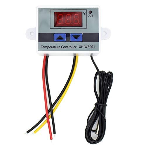 Laimiko Controlador de Temperatura LED Digital 10A AC110-220V XH-W3001 para Incubadora, Interruptor de CalefaccióN y RefrigeracióN, Termostato, Sensor NTC