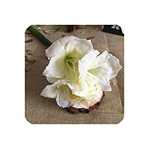 Perfect-display Luxury Real Touch Soft Latex Large Amaryllis Artificial Flowers Home Wedding Decorations Flores Fake Flower Home Table Decor,White