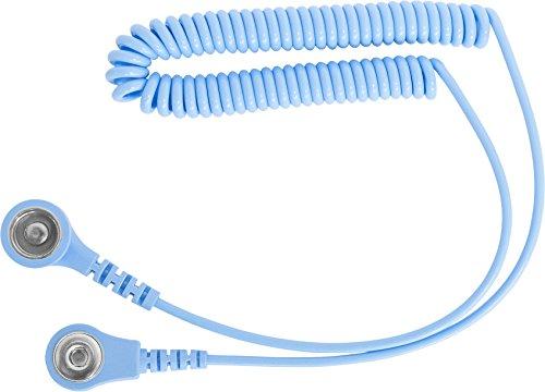 BJZ Erdungskabel, Spiral (1 MOhm) Druckknopfanschluss 4 mm/10,3 mm 2,4 m hellblau