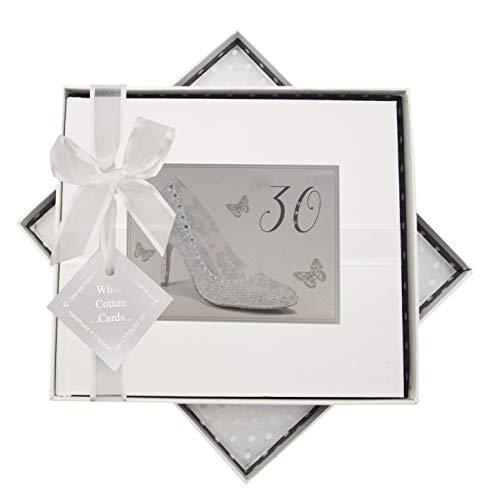 White Cotton Cards Shu30g Argent Motif chaussure d'anniversaire 30 ans livre d'or