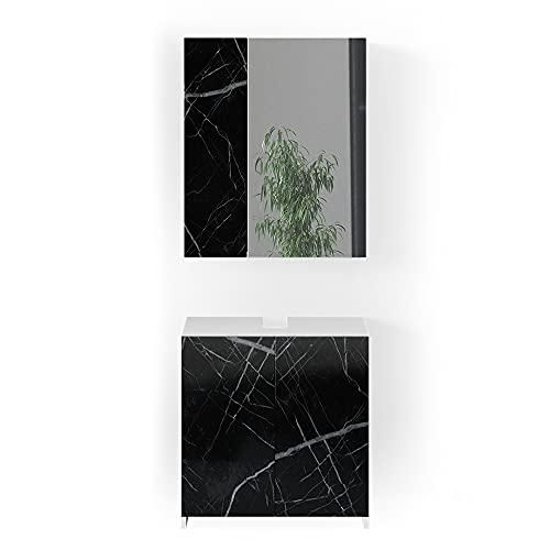 Vicco Badmöbel Set Waschbeckenunterschrank Spiegelschrank Nero Marmoroptik (Set1)