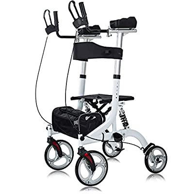 """ELENKER Upright Rollator Walker, Stand Up Rollator Walker with Shock Absorber, 10"""" Front Wheels and Carrying Pouch, Suitable for Outdoor, White by ELENKER"""