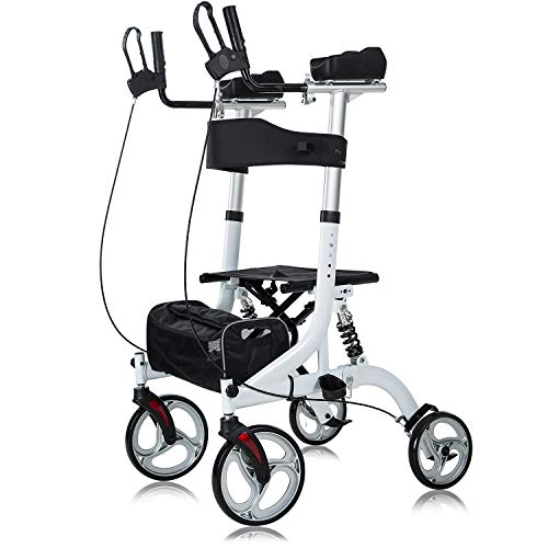 """ELENKER Upright Rollator Walker, Stand Up Rollator Walker with Shock Absorber, 10"""" Front Wheels and Carrying Pouch, Suitable for Outdoor, White"""