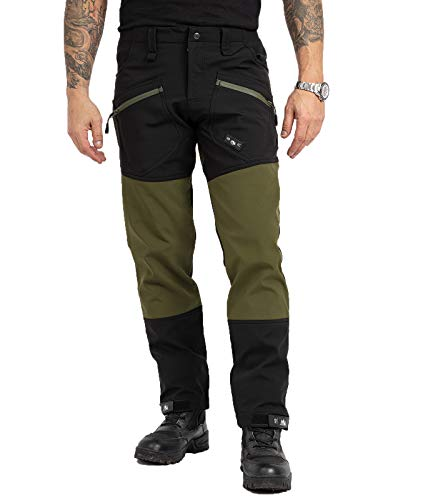 Rock Creek Herren Softshell Hose Cargohose Outdoorhose Wanderhose Herrenhose Wasserdicht Skihose Arbeitshose Winterhose Trekkinghose H-245 Schwarz 2XL