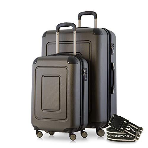 Happy Trolley - 2er Koffer-Set Trolley-Set Rollkoffer Hartschalen-Koffer Reisekoffer Lugano sehr leicht, TSA, (S+XL), Graphit +Gepäckgurt