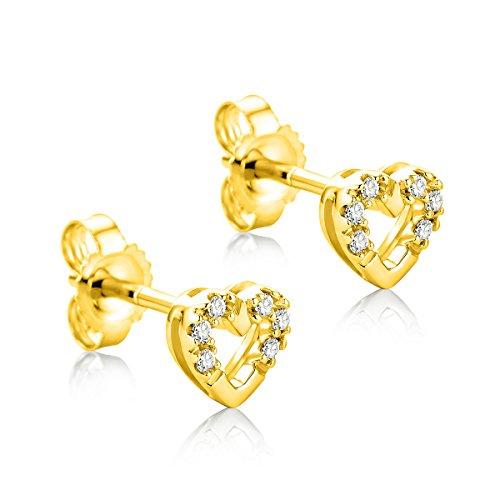 Orovi Pendientes Señora Corazón presión en Oro Amarillo con Diamantes Talla Brillante 0.06 ct Oro 9 Kt / 375