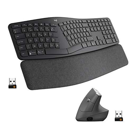Logitech, ERGO K860 et MX Vertical, Ensemble clavier et souris sans fil ergonomiques, rechargeable, Bluetooth ou USB, soutien du poignet, compatible ordinateurs portables/PC/Windows/Mac