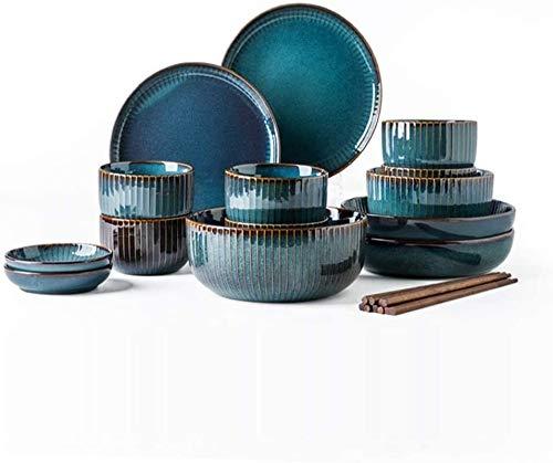 XinQing Deep Blue cerámica de la Loza Conjunto for 6 Personas, Placas Tazón Copa Placa platillo Plato de Porcelana, Palillos, 20-Piezas vajilla