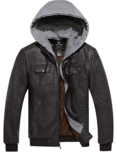 Wantdo Men Faux Leather Coat PU Leather Moto Jacket with Removable Hood Coffee M