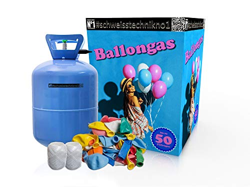"\""GENERIC\"" Heliumkit inkl. Heliumflasche für 50 Luftballons Helium Balloon Gas +50 Bunte Latexballons (Ø 25cm) +Polyband, Luftschlangen, Konfetti, Ballonverschlüsse"
