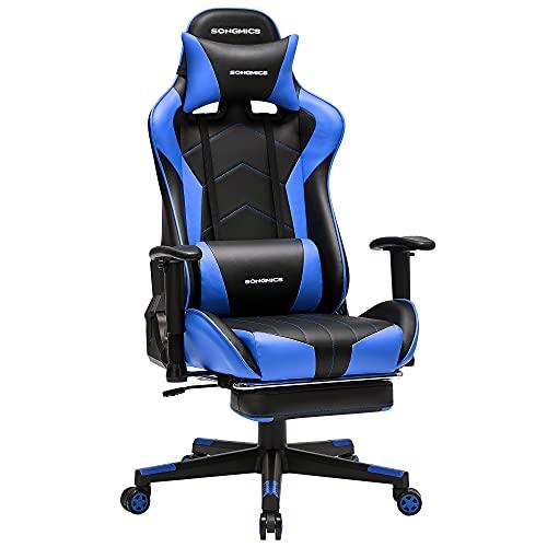 SONGMICS Gaming Stuhl, Bürostuhl, ergonomischer Schreibtischstuhl, ausziehbare Fußstütze, verstellbare Armlehnen, 90°-135° Neigungswinkel, bis 150 kg belastbar, schwarz-blau RCG016B02