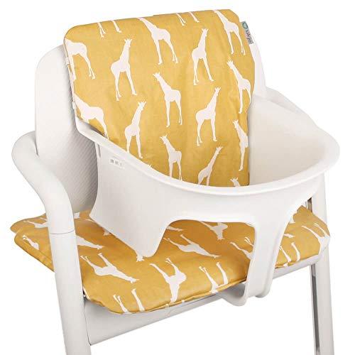 Baby Sitzkissen Sitzverkleinerer für Cybex Lemo Hochstuhl von UKJE Beschichtet Gelb Giraffen Praktisch und dick gepolstert Maschinenwaschbar 2-teilig Öko-Tex Baumwolle