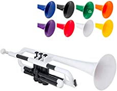 pBone Jiggs pTrumpet Plastic Trumpet w/Gig Bag and 3C and 5C Mouthpieces, White, (PTRUMPET1W)