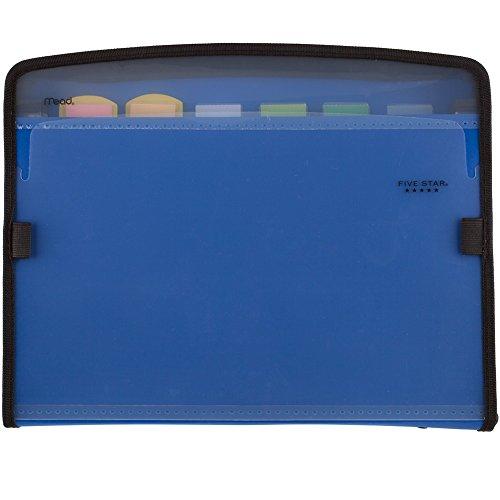 Five Star Expanding File, 7-Pocket Expandable Filing Folder, Zipper Closure, Customizable, Tabbed, Tabs, Blue (72711)